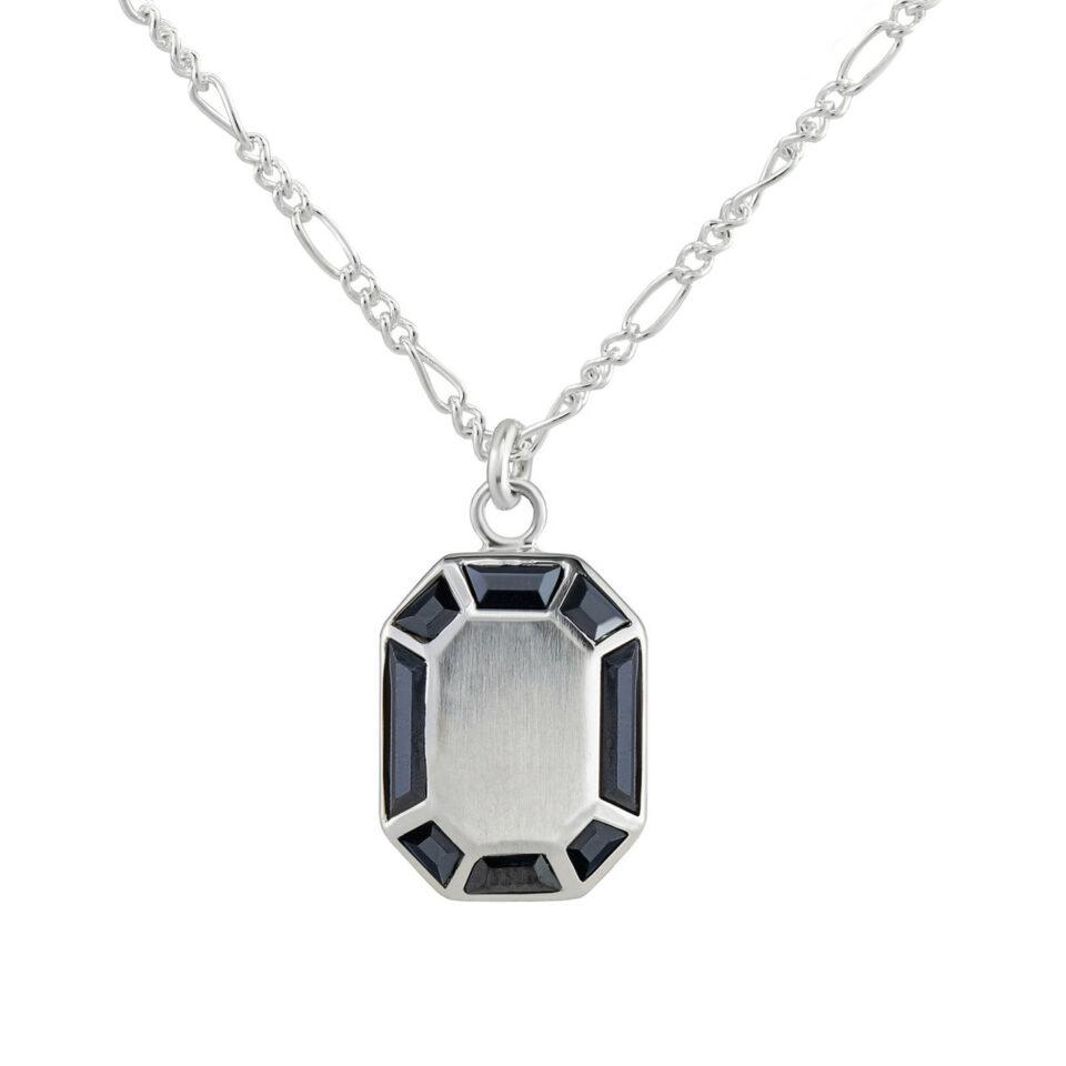 Tableau, Silver Hematite Grande Octagon Pendant, tomfoolery