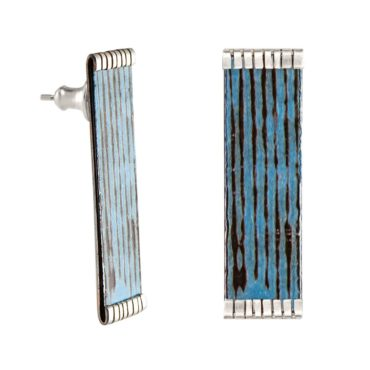 Emma Mcfarline, London Blue Railed Lines Stud Earrings, tomfoolery