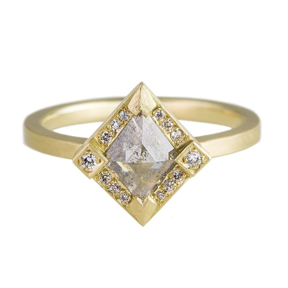 Muse by tomfoolery, 18ct Yellow Gold Salt & Pepper Rhombus Rose Cut Diamond Ring, tomfoolery