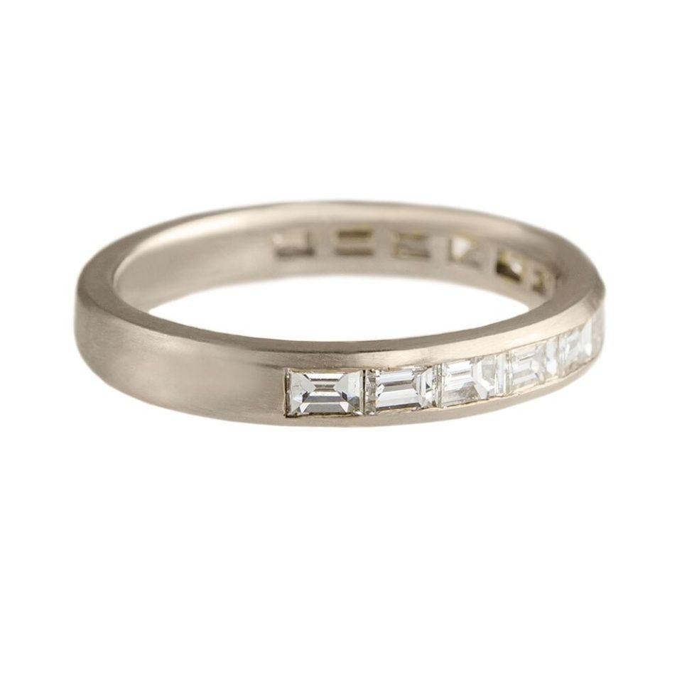 Muse by Tomfoolery, 18ct White Gold Baguette Diamond Channel Eternity Ring, tomfoolery