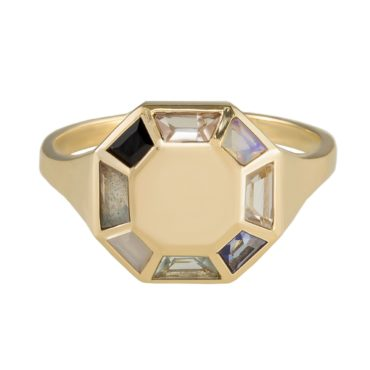 Tomfoolery; 9ct Yellow Gold Pastel Octagon Ring, Tableau