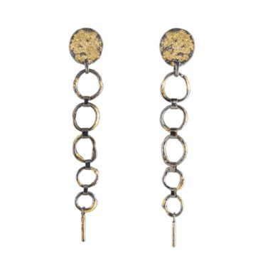 Samantha Queen, Oxidised Silver and 18ct Gold Chain Drop Stud Earrings, Tomfoolery