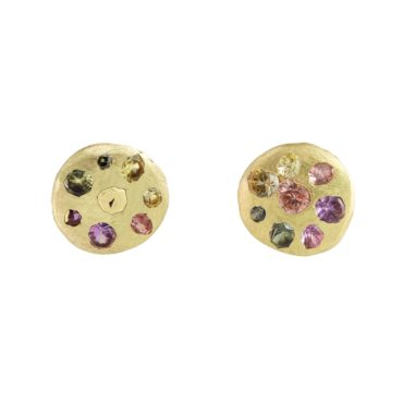 tomfoolery, polly wales, Small Blossom Crush Sapphire Crystal Disc Stud Earrings
