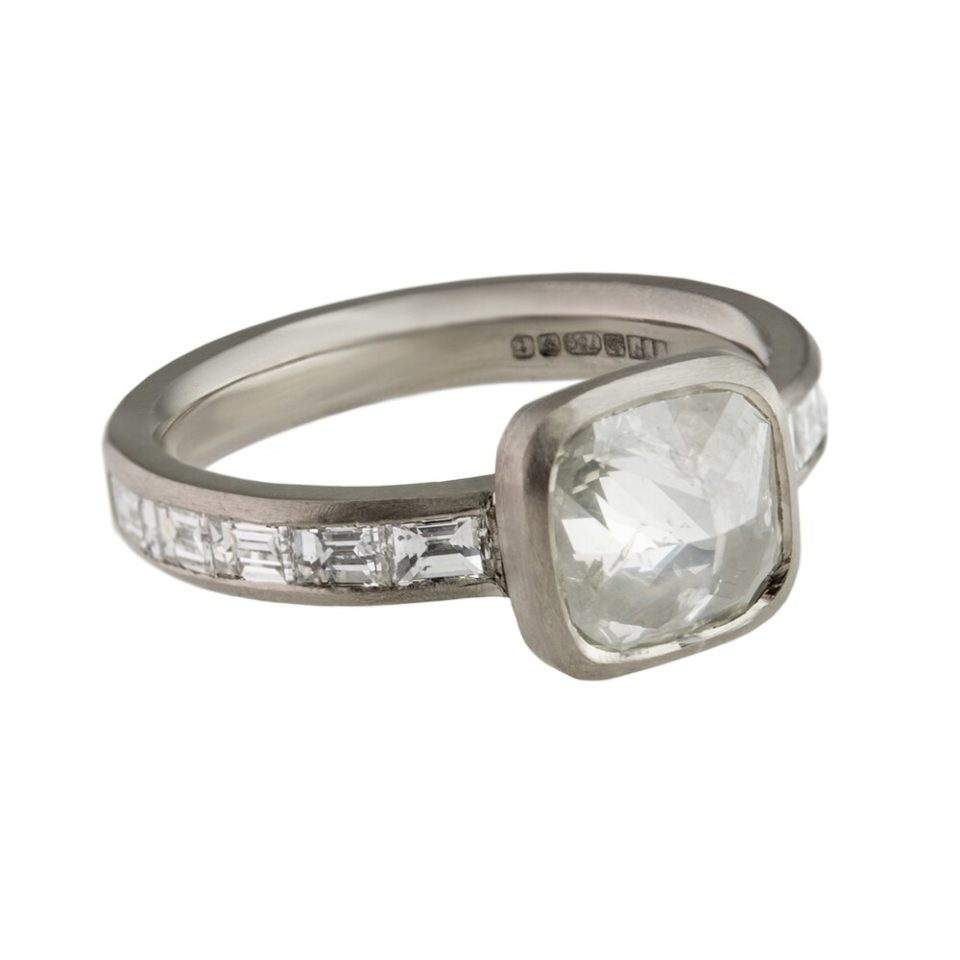 Muse by tomfoolery, 18ct White Gold Cushion Rose Cut And Baguette Diamond Ring, tomfoolery