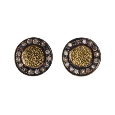tomfoolery, 5th october, Gold Plated Halo Diamond Stud Earrings