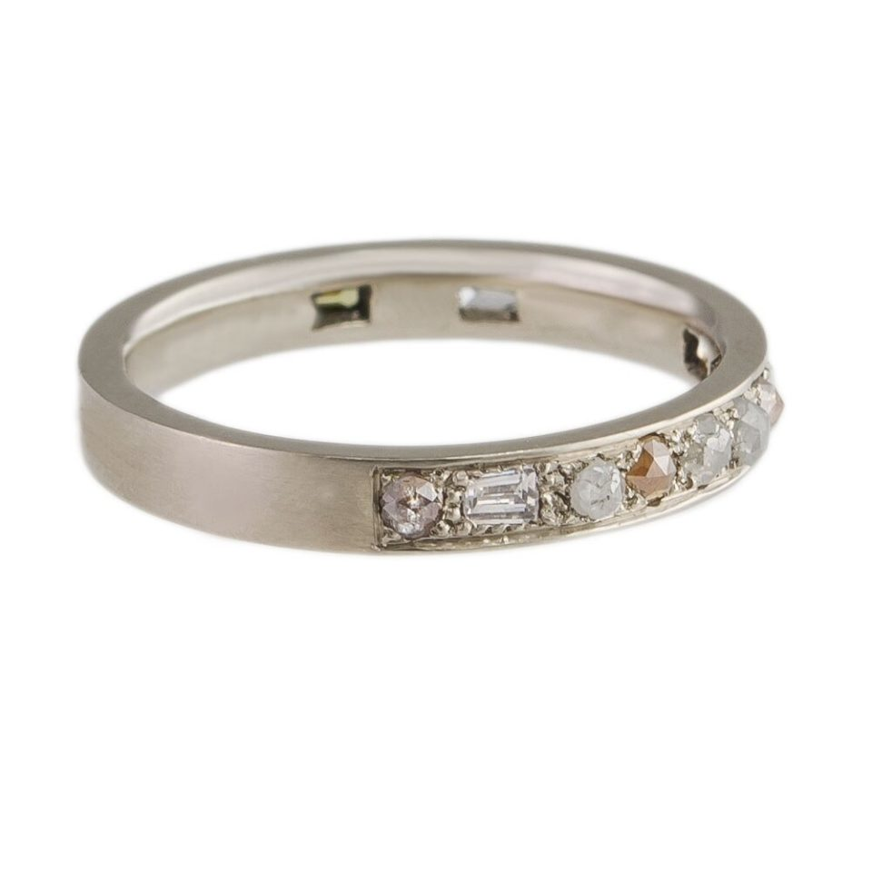 Muse by Tomfoolery, 18ct White Gold Mixed Cut Puzzle Diamond Eternity Ring, tomfoolery