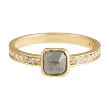 tf one, 18ct Yellow Gold Dark Grey Rose Cut Diamond Ring, tomfoolery