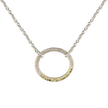 Samantha Queen, Silver and 18ct Gold Two Tone Circle Pendant Necklace, Tomfoolery