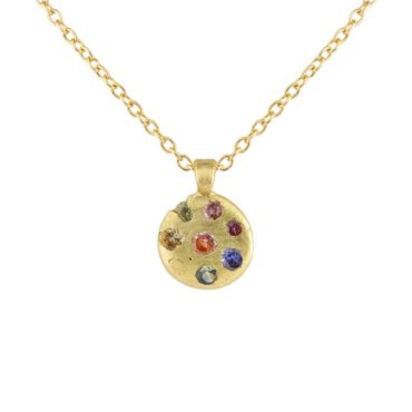Polly Wales, Small Rainbow Sapphire Celeste Disc Pendant, tomfoolery
