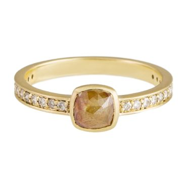 tf one, 18ct Yellow Gold Orange Rose Cut Diamond Ring, tomfoolery
