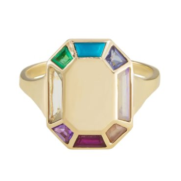 Tomfoolery; 9ct Yellow Gold Rainbow Colour Path 2 Octagon Gemstone Ring, Tableau