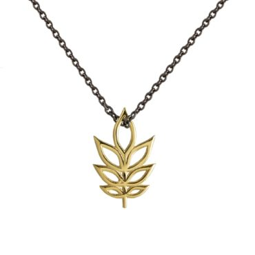 Atelier Errikos, Rhodium Plated Silver and 14ct Gold Tall Leaf Pendant Necklace, Tomfoolery