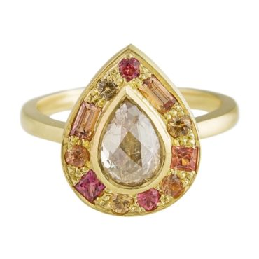 Muse by tomfoolery, 18ct Yellow Gold Puzzle FIRE Sapphire & Diamond Ring, Tomfoolery