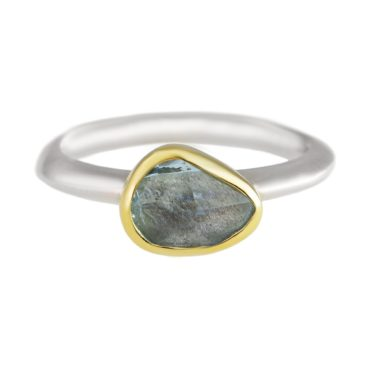 Margoni, Irregular Oval Aquamarine 18ct Yellow Gold & Silver Ring, Tomfoolery