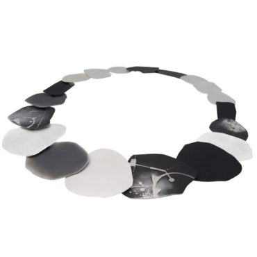 tomfoolery, Silver and Oxidised Silver Pattern Statement Necklace, deco echo