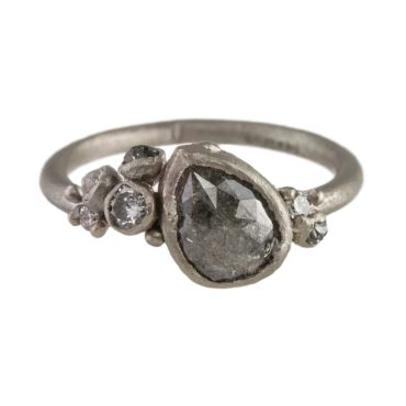 Ruth Tomlinson, White Gold Pear Shaped Grey Diamond Cluster Ring, tomfoolery