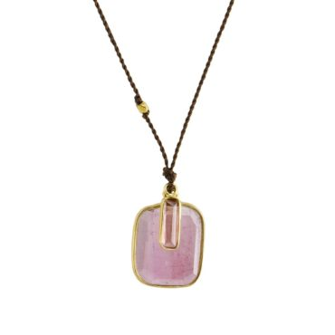 Margaret Solow, Pink Tourmaline & 18ct Yellow Gold Cord Necklace, Tomfoolery