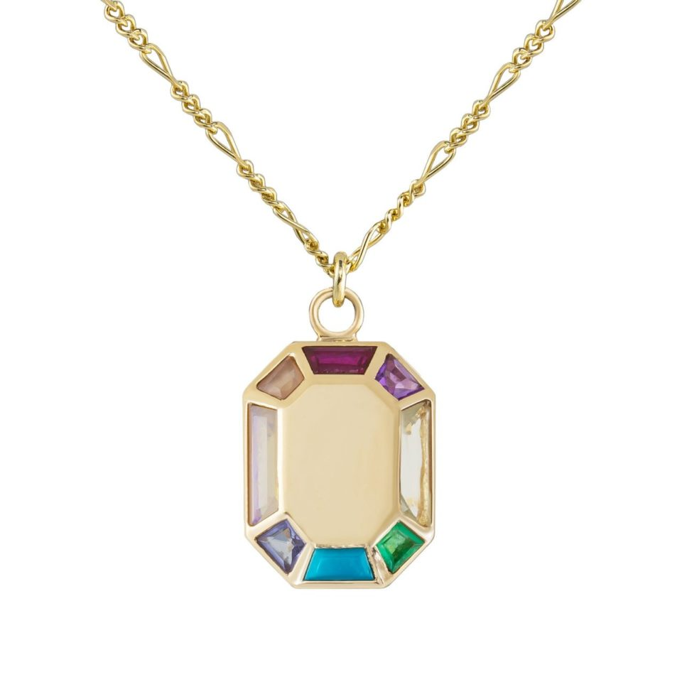 Tomfoolery; 9ct Yellow Gold Rainbow Grande Octagon Pendant, Tableau