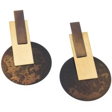 tomfoolery, Oxidised Silver and Gold-Plated Large Geometric Drop Earrings, deco echo