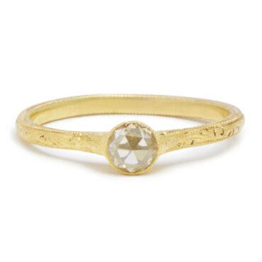 Diana Mitchell, tomfoolery, Petite Oval Rose Cut Diamond Gold Ring
