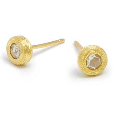 Diana Mitchell, tomfoolery, Rose Cut Diamond Engraved Gold Studs