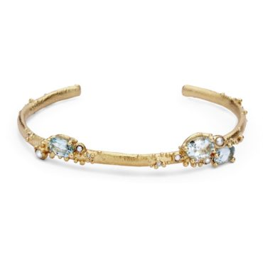 Ruth Tomlinson, Aquamarine and Pearl Encrusted Cuff with Diamonds, tomfoolery