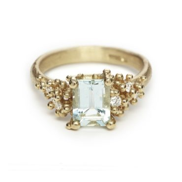 Ruth Tomlinson, Aquamarine and Diamond Ring with Granules, tomfoolery