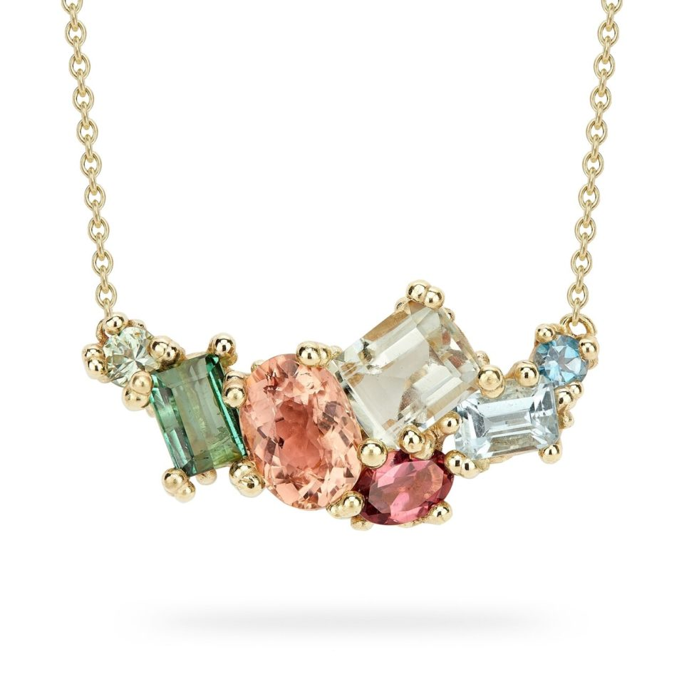 Ruth Tomlinson, 14ct Yellow Gold Encrusted Tourmaline and Aquamarine Bar Necklace, tomfoolery