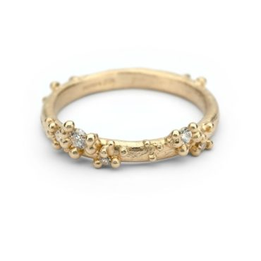 Ruth Tomlinson, Half Round Band With Diamonds & Granules, tomfoolery