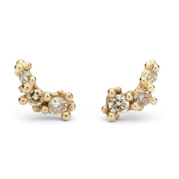 14ct Yellow Gold Three Stone Studs with Champagne Diamonds, tomfoolery, Ruth Tomlinson