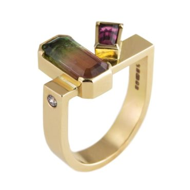 Tomfoolery, Max Danger, One of Kind 'Tourmaline & Rubelite' Art Ring