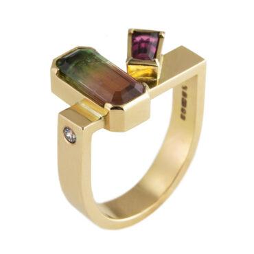 Tomfoolery, Max Danger, One of Kind 'Tourmaline & Rubelite' Art Ring