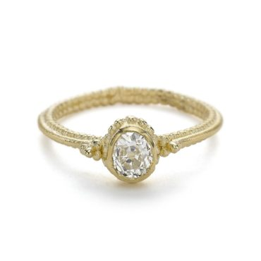Ruth Tomlinson, Ruth Tomlinson: Solitaire Diamond Ring with Double Beaded Band, tomfoolery