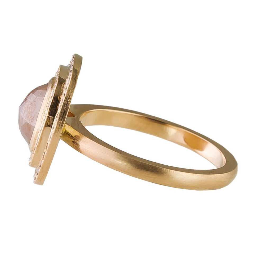 Muse by tomfoolery, 18ct Rose Gold Double Diamond Halo Ring, tomfoolery