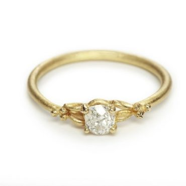 Ruth Tomlinson, White Gold Solitaire Diamond Ring with Filigree Detail, tomfoolery
