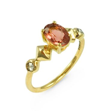 Margaux Clavel, 18ct Yellow Gold Cairo Pink Tourmaline and Diamonds Ring, Tomfoolery