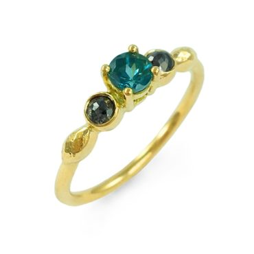Margaux Clavel, 18ct Yellow Gold Alma Blue Tourmaline and Salt and Pepper Diamonds Ring, Tomfoolery