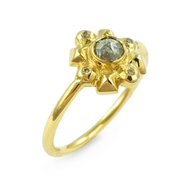Margaux Clavel, 18ct Yellow Gold Helios Champagne Diamond Ring, Tomfoolery