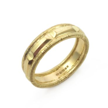Margaux Clavel, 18ct Yellow Gold Gracia Double Twist Band Ring, Tomfoolery