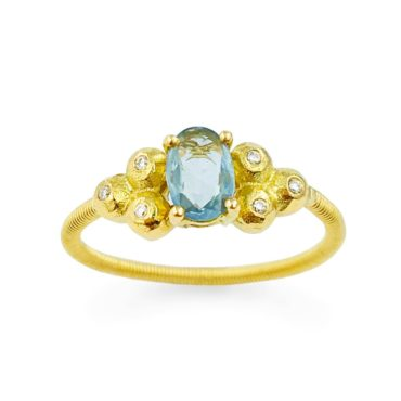 Margaux Clavel, 18ct Yellow Gold Liv Blue Sapphire and Diamonds Ring, Tomfoolery