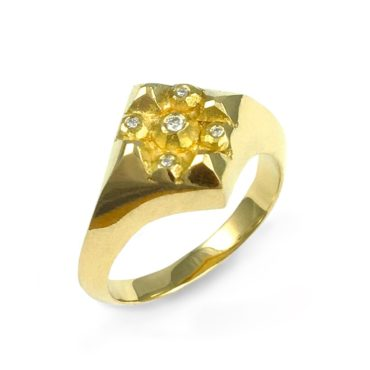 Margaux Clavel, 18ct Yellow Gold and Diamond Lucia Signet Ring, Tomfoolery