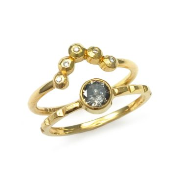 Margaux Clavel, 18ct Yellow Gold Ana Crown 5 Diamonds Ring , Tomfoolery