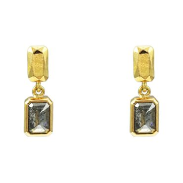 Margaux Clavel, 18ct Yellow Gold Petra Salt and Pepper Diamond Drop Earrings, Tomfoolery