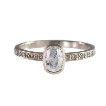 tf one, 18ct White Gold Grey Rose Cut And Mixed Diamond Band, tomfoolery