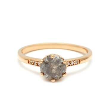 Anna Sheffield, Hazeline Solitaire 14ct Yellow Gold Grey & White Diamond Ring, Tomfoolery