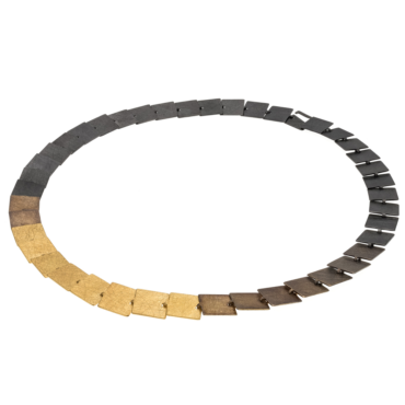 tomfoolery, Oxidised Silver and Gold-Plated Square Link Statement Necklace, deco echo