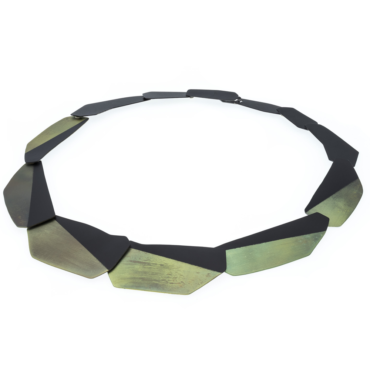 tomfoolery, Geometric Black and Green Chain Necklace, deco echo