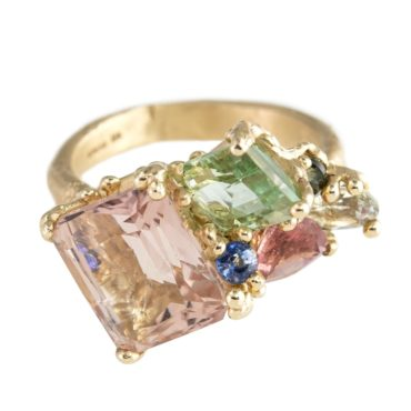 Ruth Tomlinson, Tomfoolery,  One of a Kind 'Pink & Green Tourmaline & Aquamarine Cluster' Art Ring