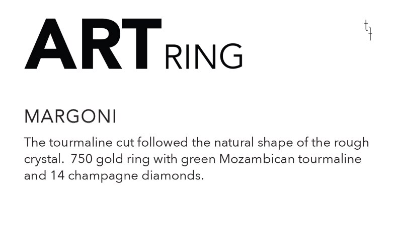 One of a Kind 'Tourmaline & Diamond' Art Ring, Tomfoolery, Margoni
