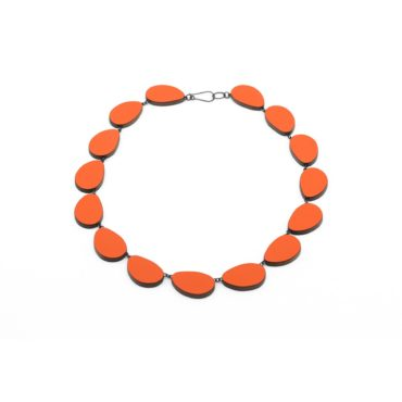 Tomfoolery, Reversible Orange and Light Green Curve Necklace, Emily Kidson